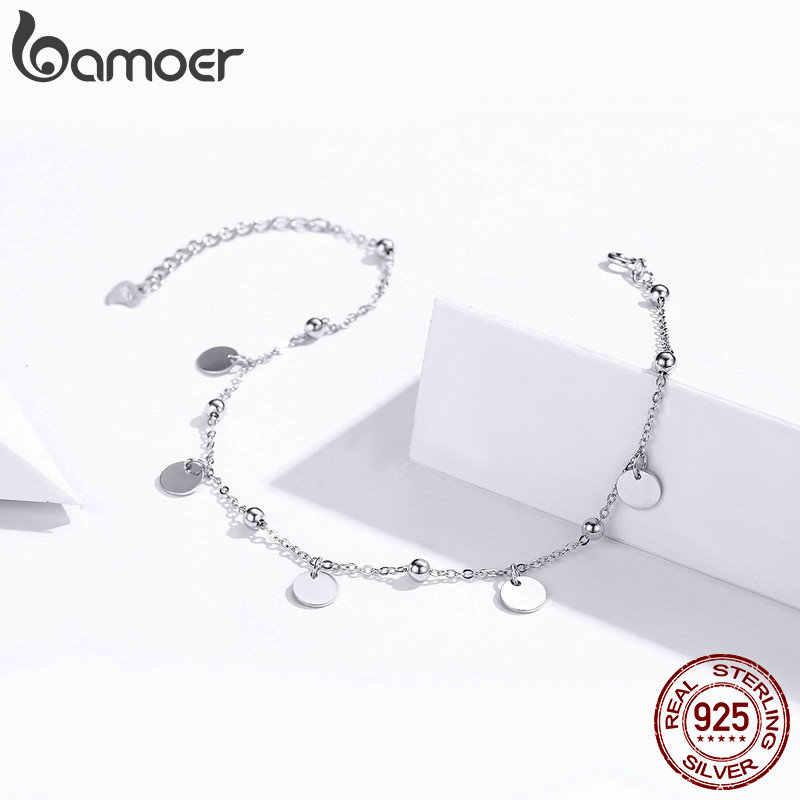 Bamoer Серебряные ножные браслеты из бисера 925 стерлингового серебра геометрические минималистичные летние модные бижутерия для ног браслет для лодыжки SCT011