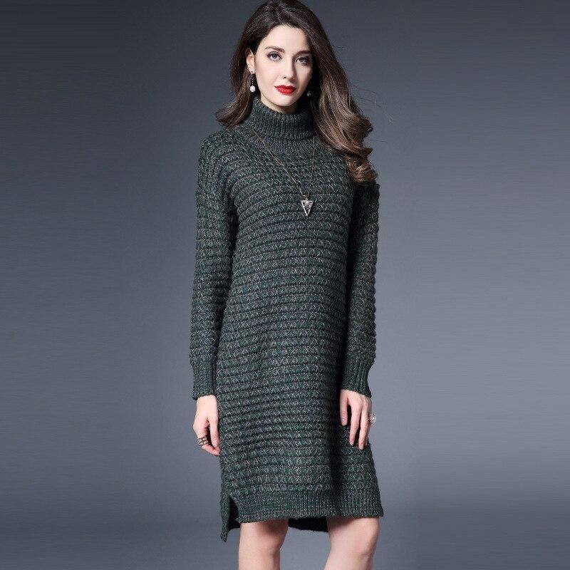Новое Поступление 2016 Зима Женщины Вязаный Свитер Платье Полный Рукавом Свободные Женщины Краткая Теплые Пиджаки Vestidos