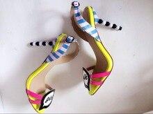 Милые девушки дамские босоножки на высоком каблуке обувь Новое поступление желтый цвет небесно-синий Доступен белый цвет смешаны вместе дизайнер каблуки дамские сандалии
