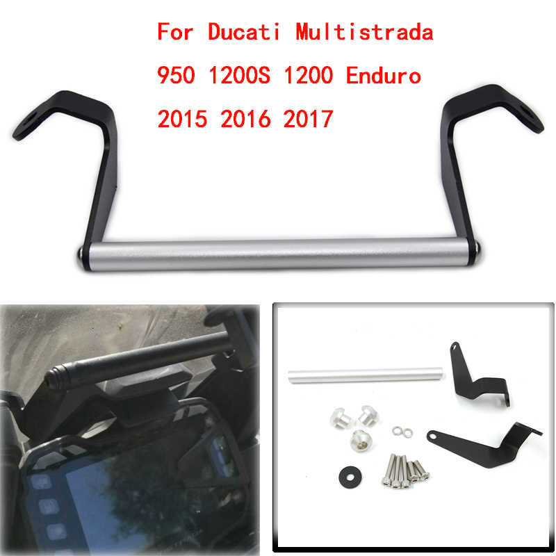 MTImport GPS Smart Phone Navigation Mount Mounting Bracket Adapter Holder For Ducati Multistrada 950 1200S 1200 Enduro 2015-2017