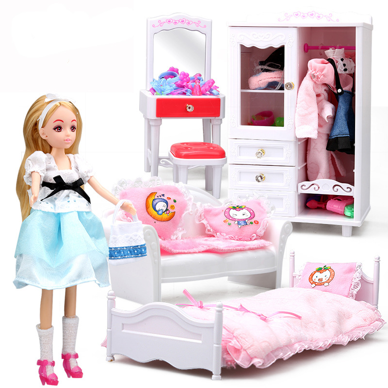 5-in-1 Tremendous Miniature Bed room Furnishings Mixture Dollhouse Toy embody Doll Wardrobe Dressing-table Couch and Mattress for Barbie