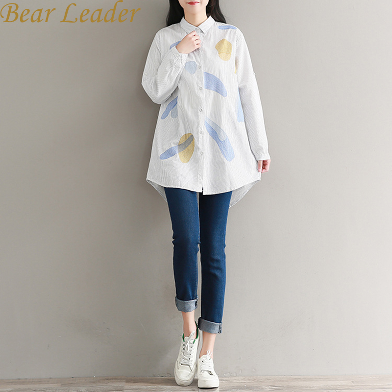 Bear Leader Women Shirt 2017 New European and America Long Shirt Long Sleeve Embroidery Print Turn-Down Collar Autumn Blouse