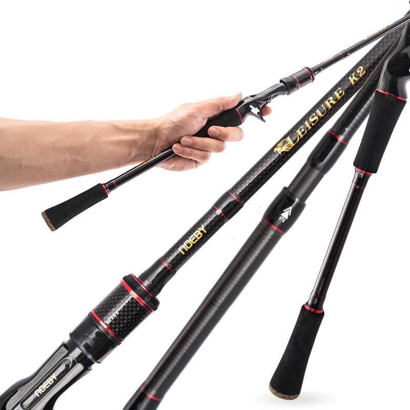 NOEBY olta eğlence K2 1.98m 2.13m 2.44m 2 ipuçları iplik çubuk döküm çubuk M/ML M/MH SIC yüzük Vara De Pesca sopa bas Olta