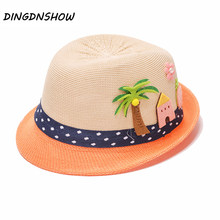 [DINGDNSHOW] Fashion Baby Straw Hat Lovely Kids Summer Beach Sun Cap Children Cartoon Tree Casquette Girls And Boys Panama Hats(China)