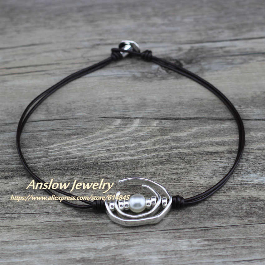 Anslow מותג הטוב ביותר למכור פאנק רוק סגנון אישיות סגנון תכשיטים קצר עור קולר שרשרת חג המולד מתנה LOW0062AN