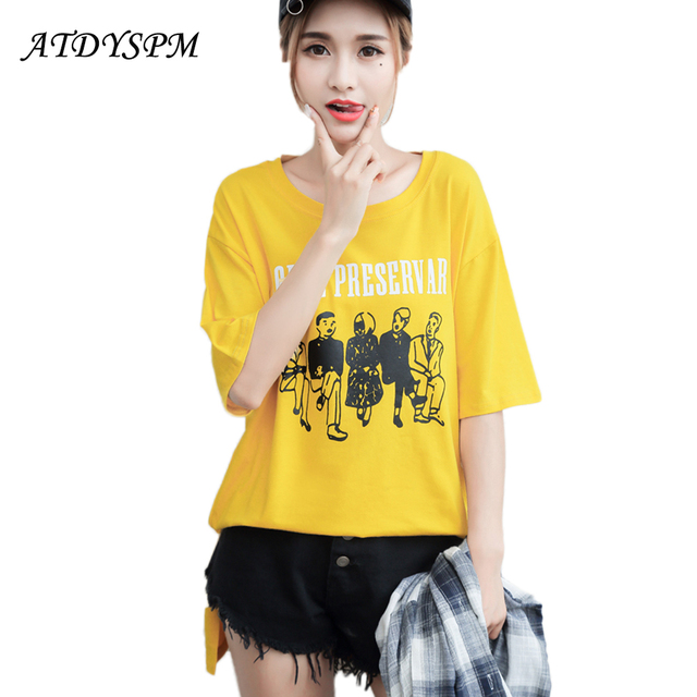 4d0cc78a4a Women's short sleeved cotton t shirt 2017 summer new fashion Korean style  cartoon print loose shirt basic tops-in T-Shirts from Women's Clothing & ...
