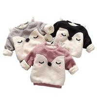 Boys Baby Dziewczyny Odzież dziecięca Lisa Bluzy Jesień Zima Ciepła Bluza Z Długim Rękawem Bluzy z Kapturem Z Polaru