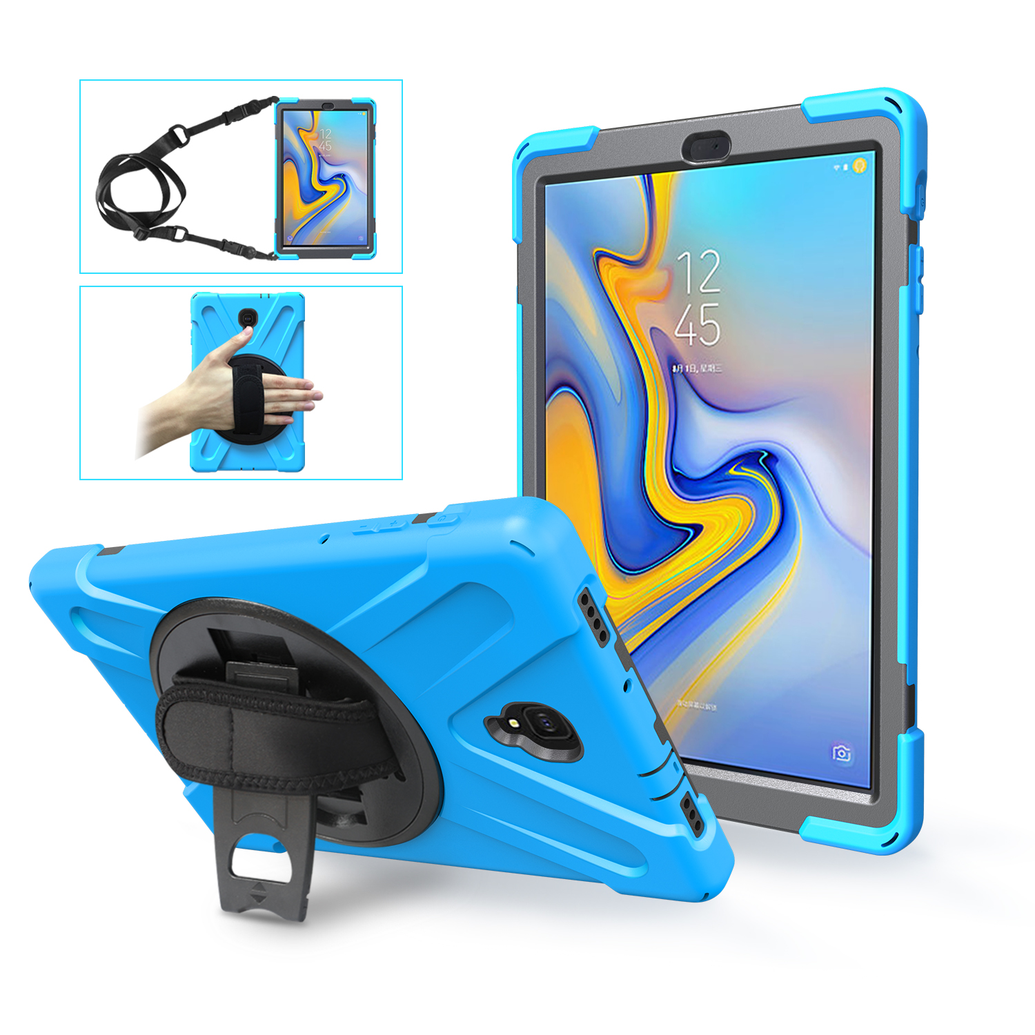 360 Rotation Hand Strap & Kickstand Silicone Defender Cover For Samsung Galaxy Tab A 10.5 T590 T595 T597 2018 Release Kids Case