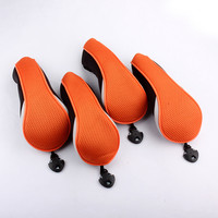 Free Shipping Set Of 4 Pieces Black Orange Mesh Material Golf Hybrid Headcover UT Utility Golf