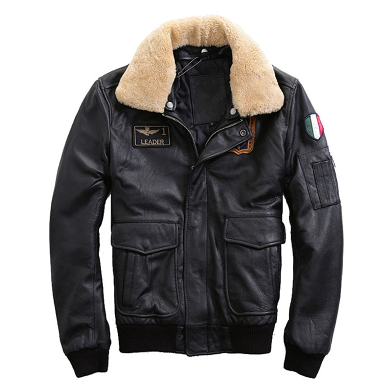 e5d8bf2db8a HARLEY DAMSON Black Men Pilot Leather Jacket Wool Collar Plus Size 3XL  Genuine Thick Cowhide Winter
