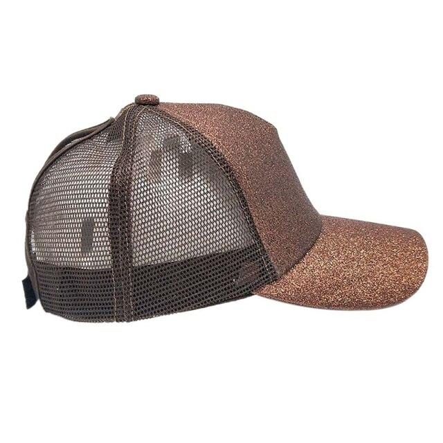 New Glitter Ponytail Baseball  Sport Cap Sequins Shiny Messy Bun Snapback Hat Sun Caps For Running Hiking 3