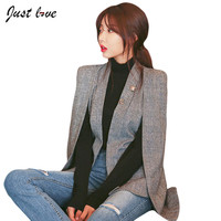 New Fashion Women Slim Blazer Coat Casual Jacket Full Sleeve Suit Work Wear Blazer Feminino Office