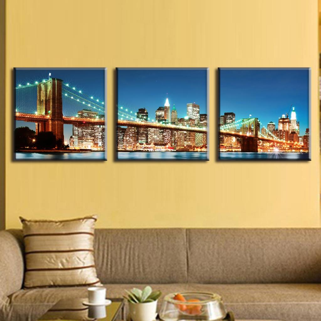 Modern 3 Panels Landscape Painting The Brooklyn Bridge Of New York ...