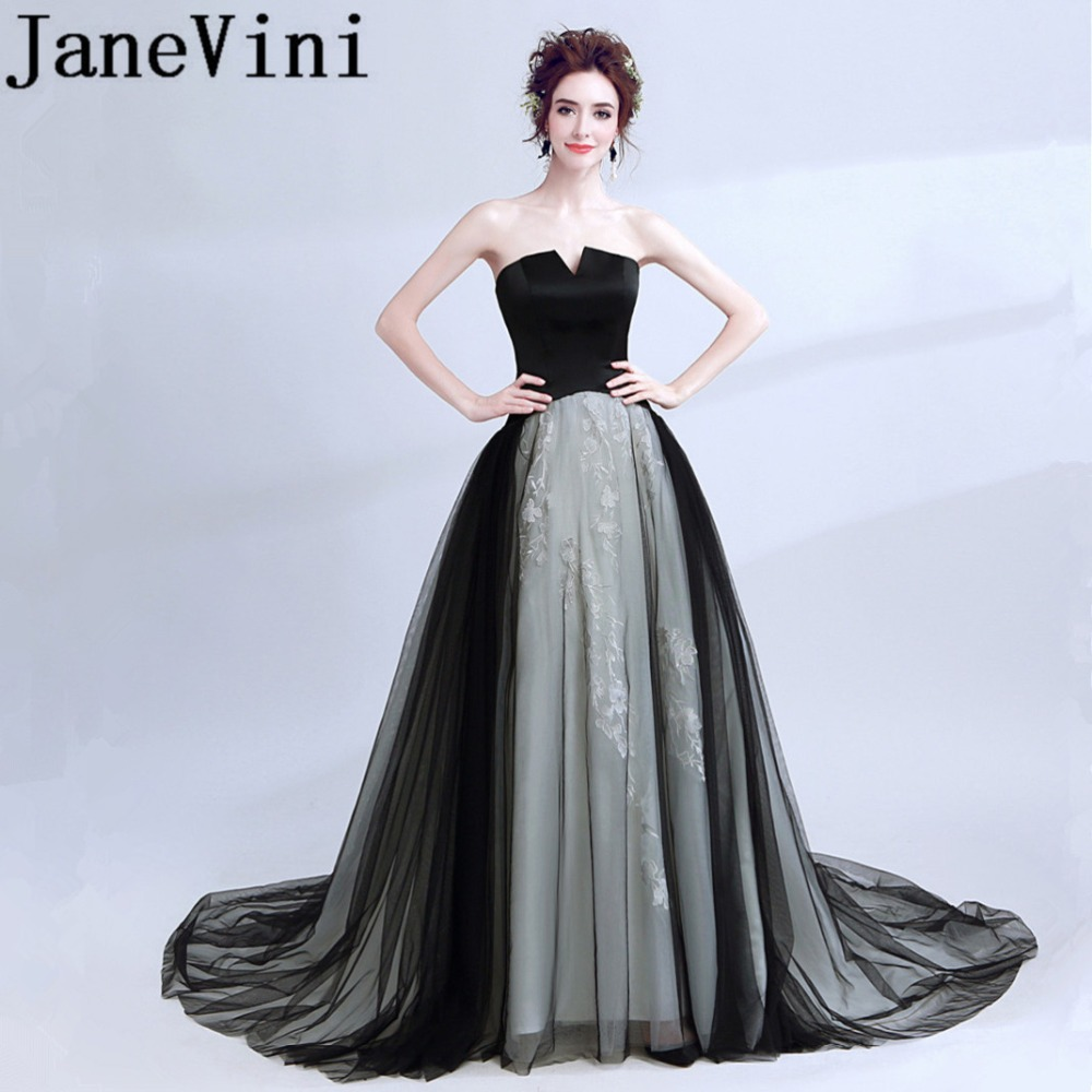 JaneVini 2018 Sexy Black Long   Bridesmaid     Dresses   A Line Strapless Lace Appliques Backless Tulle Sweep Train Formal Prom Gowns