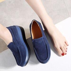 Image 2 - 2019 סתיו נשים פלטפורמת סניקרס נעלי עור זמש להחליק על עבה סוליות נעלי אוקספורד נעלי נשים מטפסי מוקסינים נשים 3213