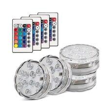RGB погружной светодиодный пульт дистанционного управления для подводного использования светодиодный светильник 10 светодиодный s AAA батарея водонепроницаемый светильник для бассейна светильник точечный светильник s фонтан