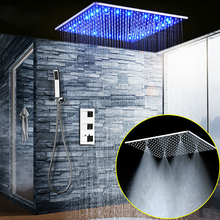 Luxury Shower Set 20 Inch Led Large Mist Rain Shower Head Ceiling Shower Faucet Panel Thermostatic Mixer/ Handheld Shower  цена 2017
