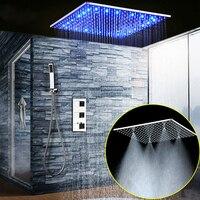 Bathroom Fixture Shower System 20 Inch Led Mist Rain Shower Ceiling Shower Faucet Set Panel Thermostatic Mixer/ Handheld Shower