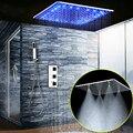 Dispositivo elétrico do banheiro sistema de chuveiro 20 Polegada led névoa chuva chuveiro teto torneira do chuveiro conjunto painel termostática mixer/chuveiro de mão