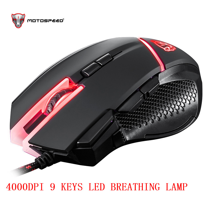 Motospeed V18 Gaming Wired Mouse 7 Button 4000DPI 8-grade LED Optical USB Precision Optical 9Keys Breathing Lamp with 1.8m Cable