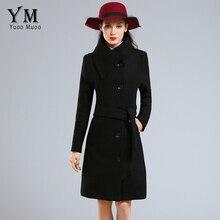 YuooMuoo Brand Fashion Plus Size Winter Coat Women Long Wool Coats High Quality Black Woolen Jacket Poncho Autumn Cashmere Coat