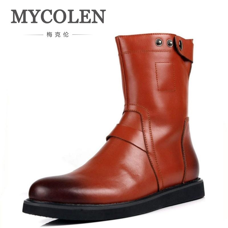 MYCOLEN Men Boots Casual Classic Men Boots Vintage Leather Western Boots For Men Genuine Leather Outdoors High Top Flat