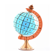 DIY Model toys 3D Wooden Puzzle-Rotating globe Wooden Kits Puzzle Game Assembling Toys Gift for Kids Adult P23