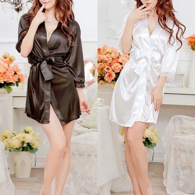 Women s Short Kimono Style V-Neck Bathrobe Plain Dressing Gown Bridal Party  Robe 96b03ad24121