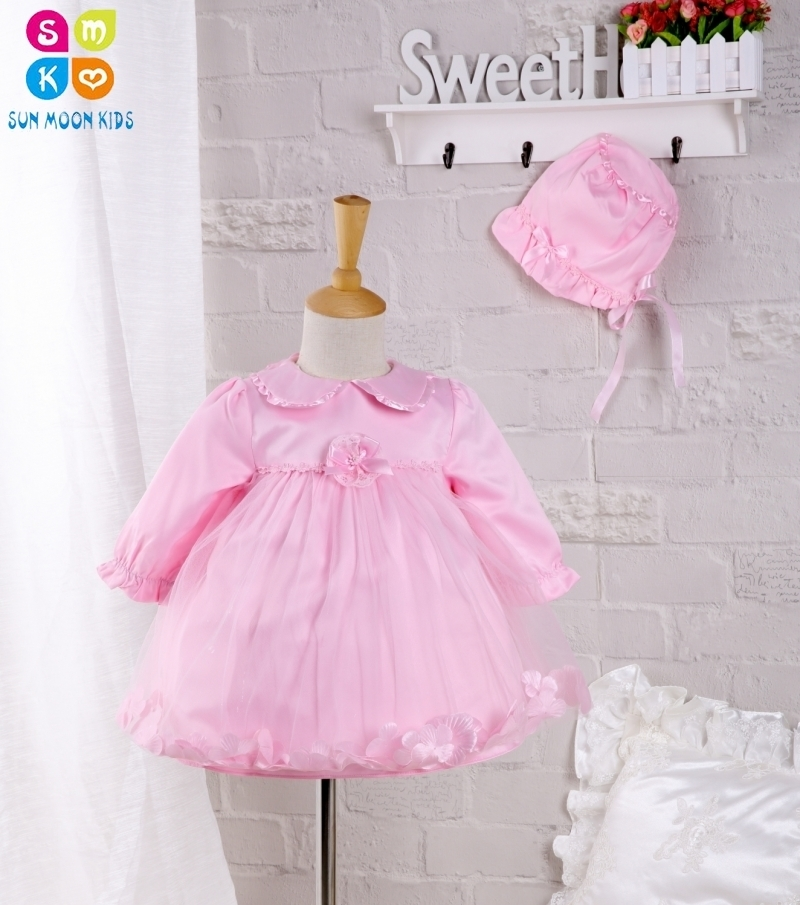 2pcs/set Baby Girl Dress 2016 Autumn Style Girls Long-sleeve Petals Party Dresses Pink Lace 1 Year Birthday Dress,0-2Y 2017 autumn designer runway style party lace women allover hollow out lace embroidery long sleeve dark blue mermaid dress festa