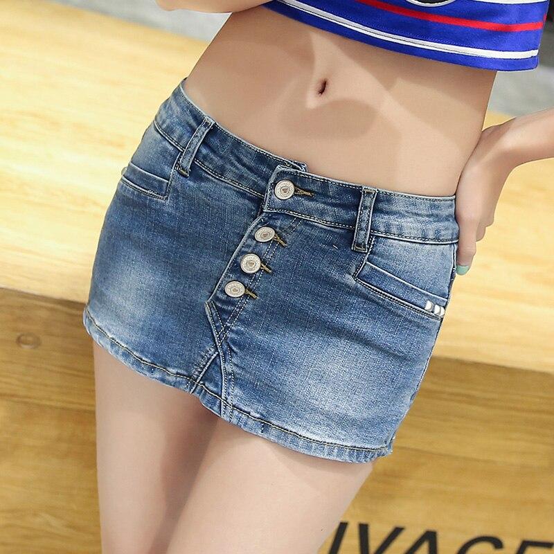 Spodenki jeansowe Skorts Spódnica Kobieta 2017 Nowy Mody Dwukrotnie Przycisk Mini Slim Sexy Ladies Szorty Jean Plus Size Krótkie Dżinsy Feminino