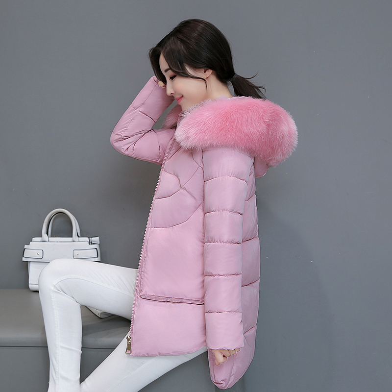 Women Cotton Padded Overcoat Hooded Fur Collar Detachable Female Jacket Coat High Quality Slim Winter Thick Warm Outwear MY0070 women winter coat leisure big yards hooded fur collar jacket thick warm cotton parkas new style female students overcoat ok238