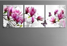 HOME DECOR High Precision Print Canvas Set of 3 Landscape Blooming pink peach Stretched CANVA PRINT Ready to Hang
