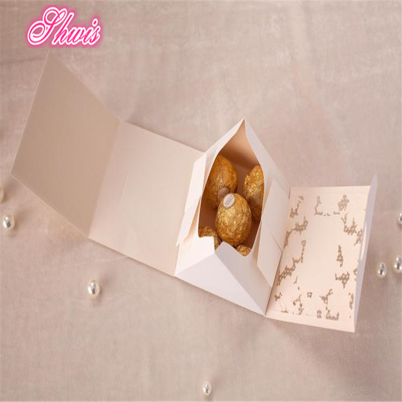 50pcs Paper Lace Candy Box White Favor Bo For Wedding Baby Shower Birthday Party Can Put 5pcs Of Ferrero Casamento Caixas In Gift Bags Wring