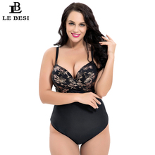 LEBESI 2018 New Arrival Women One Piece Swimsuit Plus Size Swimwear Push Up DEFG Cup Bathingsuit Backless Underwire
