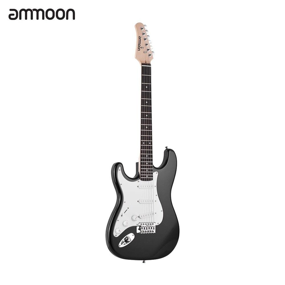 Ammoon guitare électrique 21 frettes 6 cordes Paulownia corps manche érable bois massif avec haut-parleur Pitch Pipe guitare sac sangle droite - 5