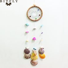 Cool summer beach Fresh Style Colorful Beach Shells Dream Catcher Circular Pendant Pastoral Dreamcatcher Wind Chimes Wall Hangin(China)