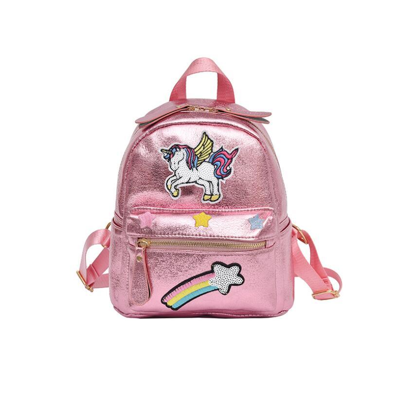 Nuevo 2018 mujeres unicornio cuero mochila niños mochilas escolares para adolescentes mujeres pequeño bolso de hombro lindo viaje Mini mochila