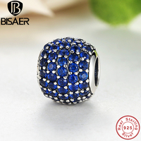 Luxury 925 Sterling Silver Pave Light Blue Crystal Ball Charm Fit Original Bracelet With Clear Cubic