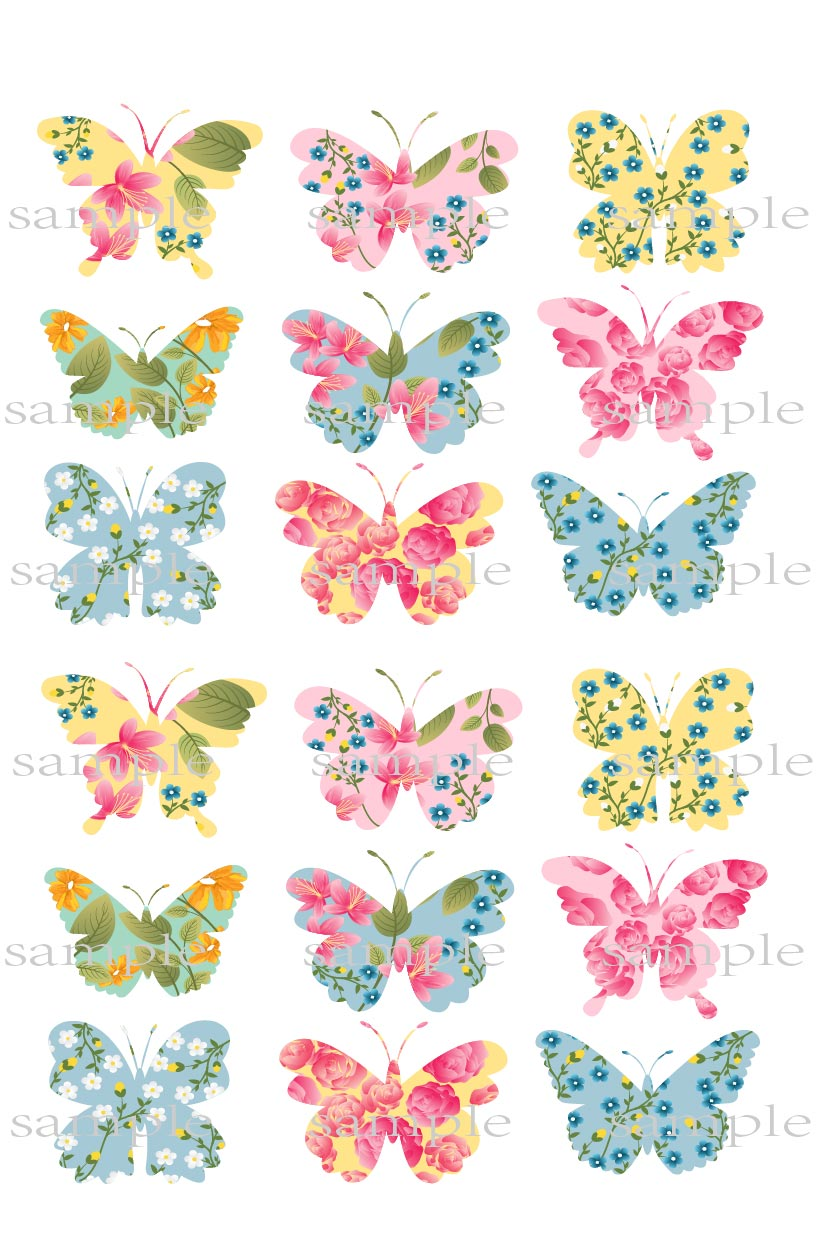 18 Big Flower Butterfly Edible cake topper wafer rice paper cupcake ...