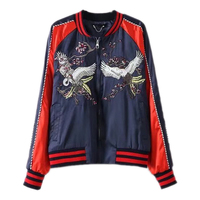 New Fall Small Collar Embroidery Plum Crane Flying Suit Jacket Bomber Jacket Short Sleeve Jacket Lovers