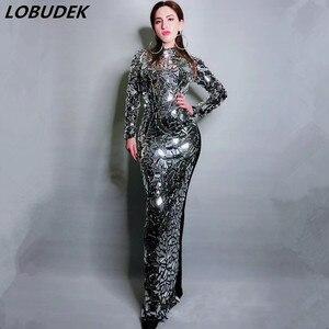 Платье женское, серебряное, длинное, на день рождения, роскошный, для вечеринок, звезд, певец и ведущий, сценический костюм