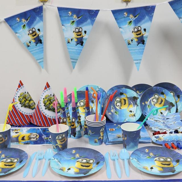 1pack 37pcs Wholesale Cartoon Minions kids 1st Birthday Theme Party