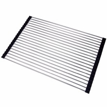 Lifewit 52 x 34cm Dish Drying Rack 304 Stainless Steel Dish Drainer Over Sink Roll-Up Multipurpose Countertop Draining Rack