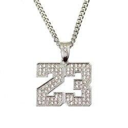 Ожерелье BNRESALE, ожерелье из горного хрусталя с номером 23, в стиле хип-хоп, со льдом