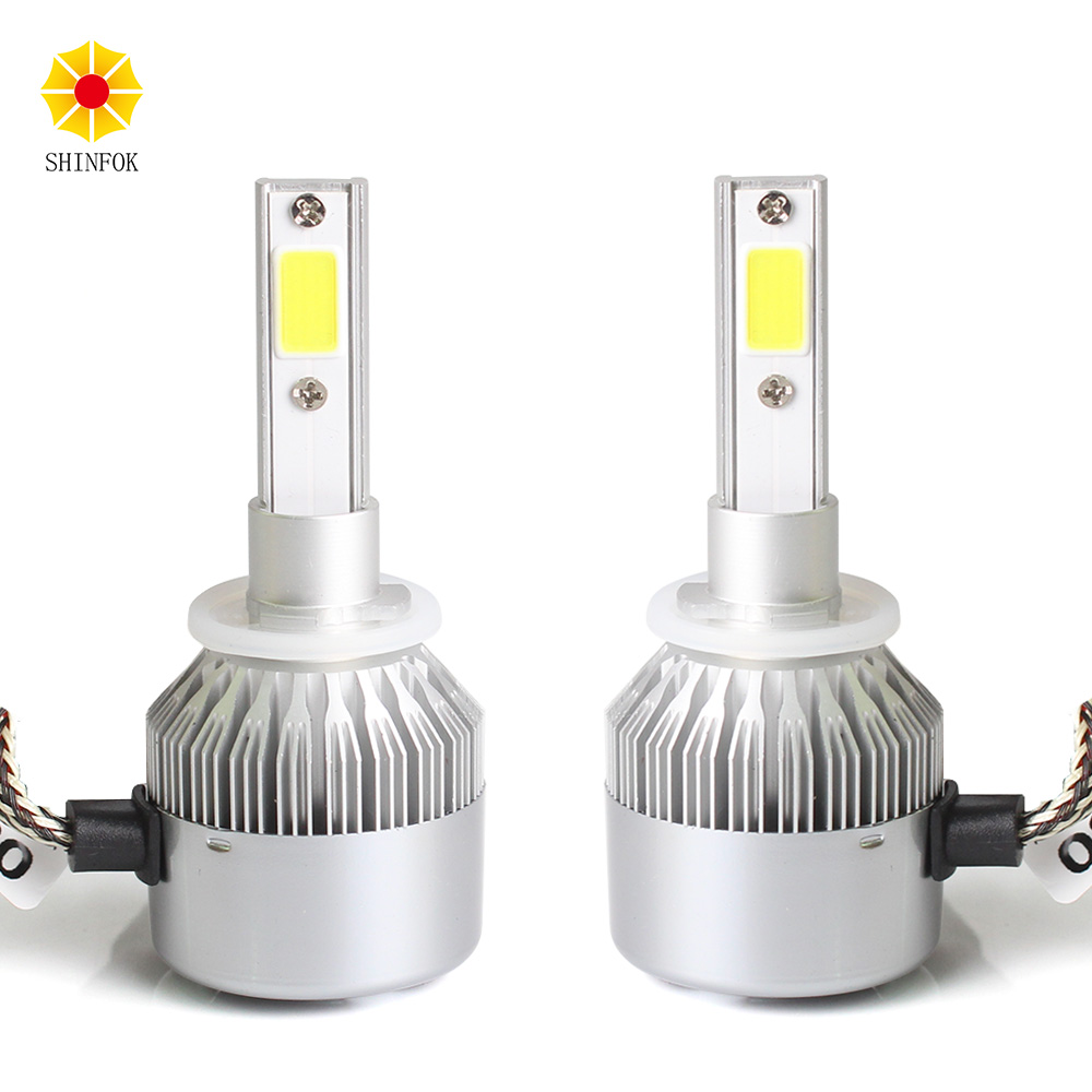 880 881 H27 LED Headlight 2PCS Bulb High Power COB Chips 6000K Free Shipping Auto Car Styling Repalcement Headlamp 2pcs 880 881 car led headlight headbulb crystal night clear all in headlamps 40w 3600lm 880 881 6000k