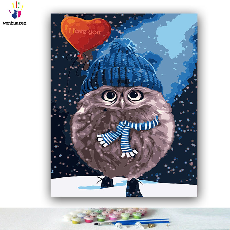 DIY Coloring paint by numbers Cartoon owl wearing a hat pictures Abstract figure paintings by numbers with kits 40x50 framed