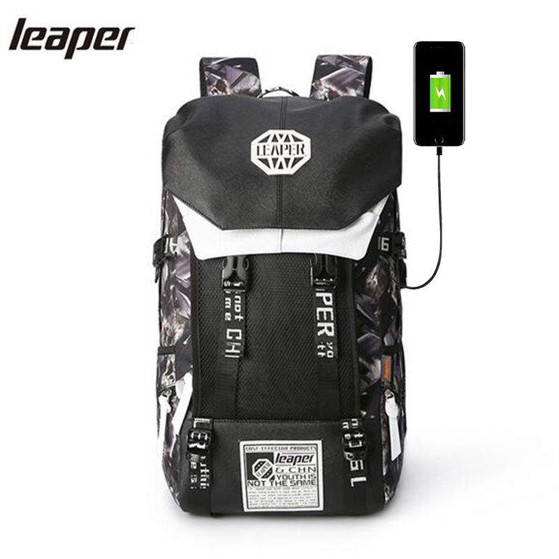 Leaper Backpack Men Usb Charge Printing Designer Laptop Backpack 15.6 inch Student Oxford School Bags For Teenagers Waterproof