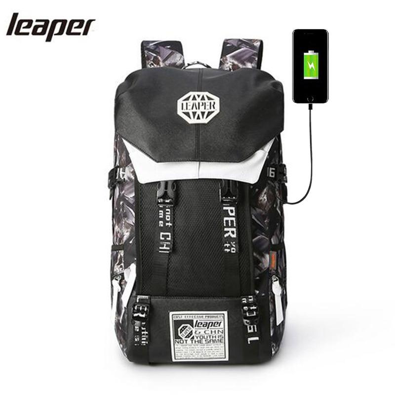 Leaper sac à dos hommes Usb Charge impression Designer sac à dos pour ordinateur portable 15.6 pouces étudiant Oxford sacs d'école pour adolescents étanche