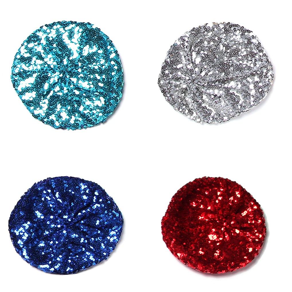 Women Bright Beret Hat Stretch Metallic Shining Sequin Glitter Beanie Cap Vintage Classic Shining Headwear