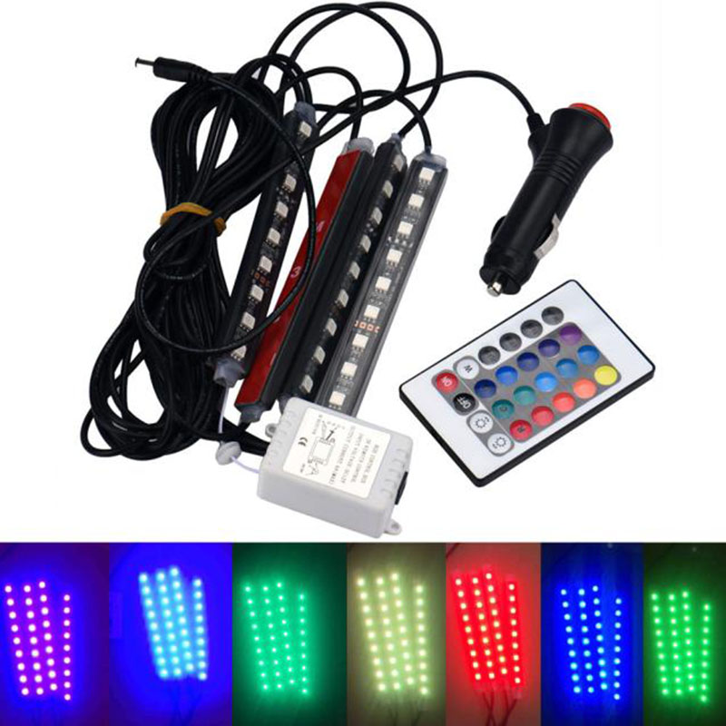 1pc universal 12v 4in 1 led car decorative atmosphere light car charge interior rgb floor dash. Black Bedroom Furniture Sets. Home Design Ideas